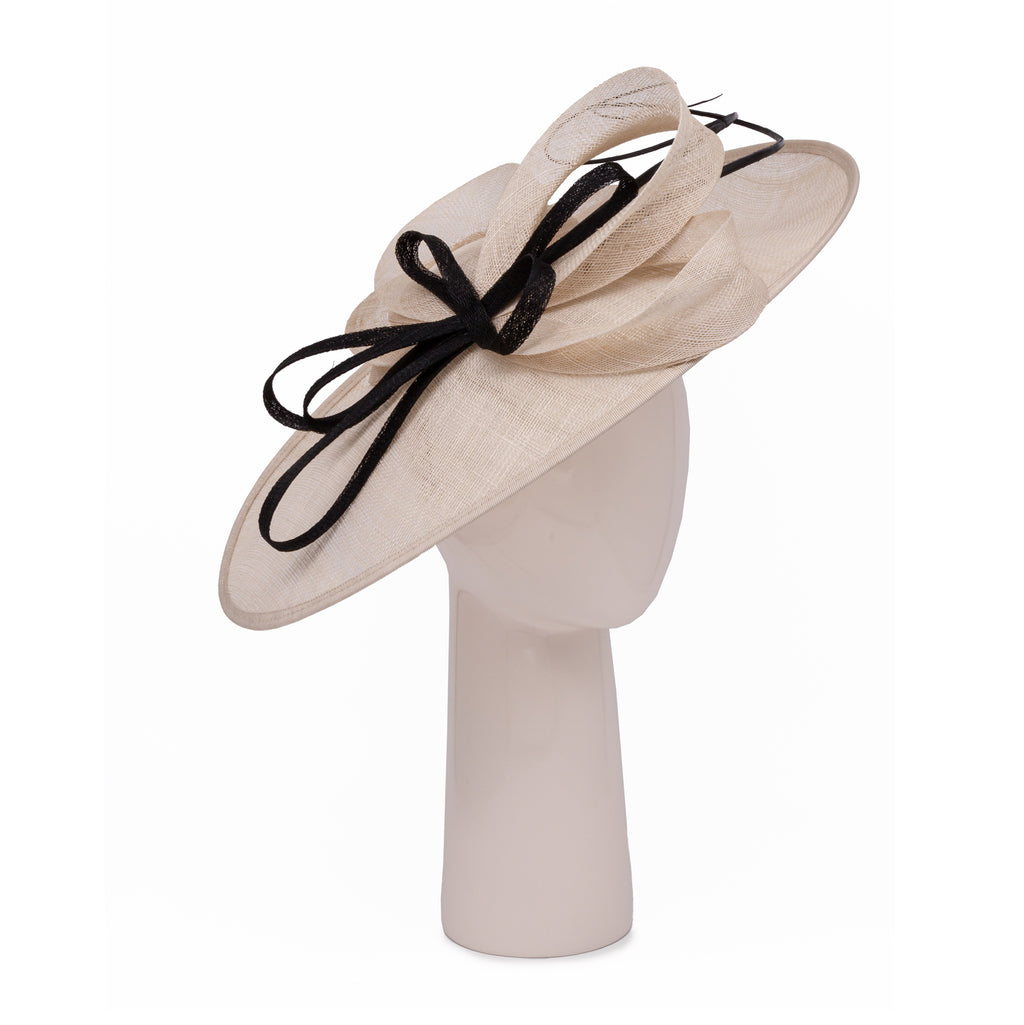 Teardrop Disc Hat with Sinamay Swirls in Champagne and Black