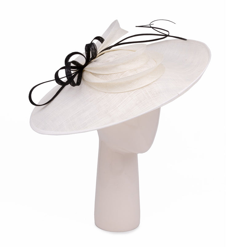 Teardrop Disc Hat with Sinamay Swirls in Ivory and Black