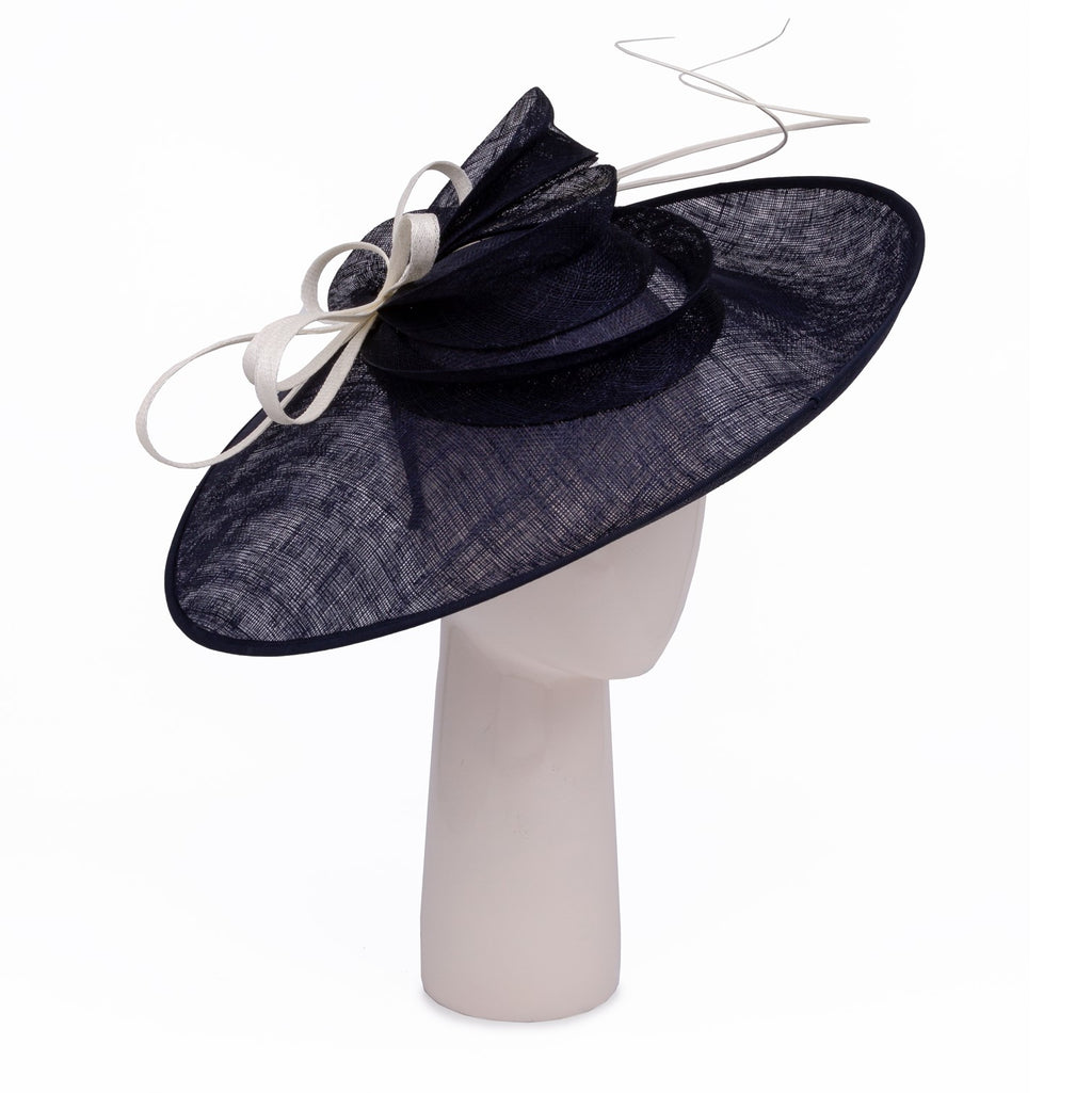 Teardrop Disc Hat with Sinamay Swirls in Navy and Ivory