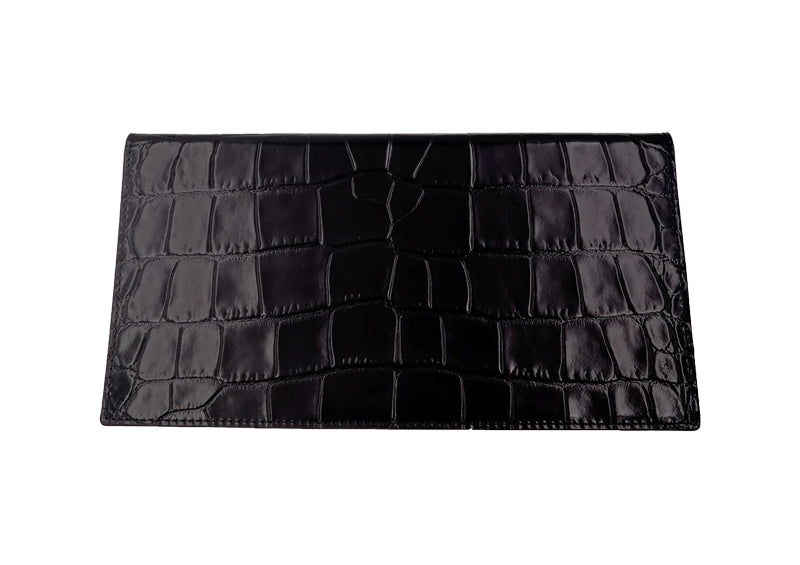 Travel Wallet 'Croc' Print Leather - Black