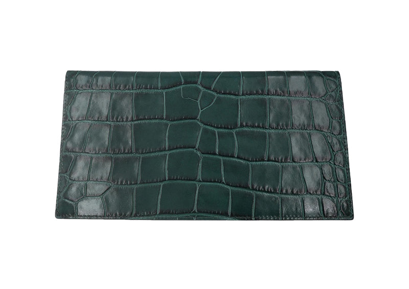 Travel Wallet 'Croc' Print Leather - Green