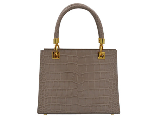 Sylphide 'Croc' Print Leather Handbag - Stone