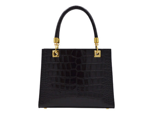 Sylphide 'Croc' Print Leather Handbag - Black