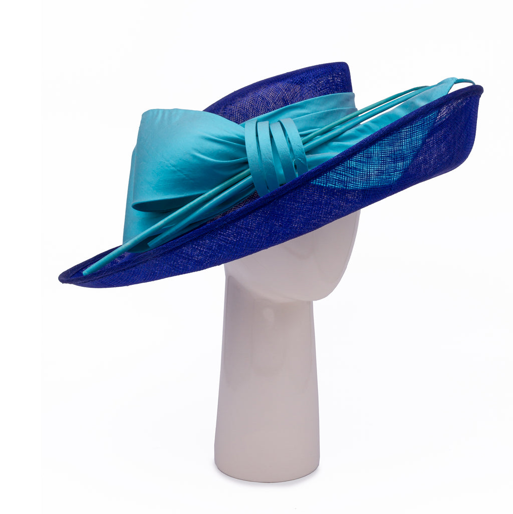 Up Brim Hat with Silk Bow - Royal and Turquoise