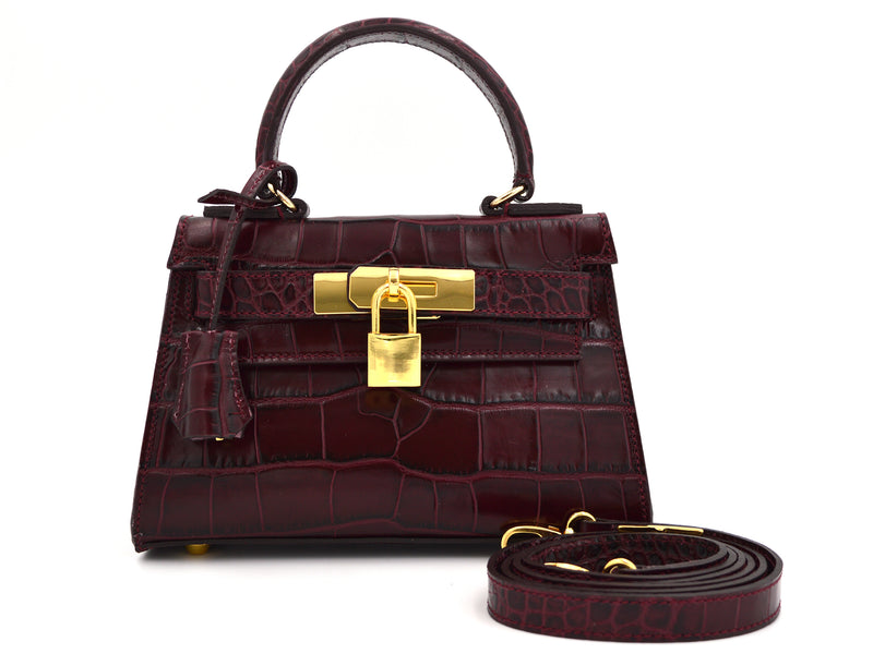 Manon Mignon 'Croc Print' Leather Handbag - Wine
