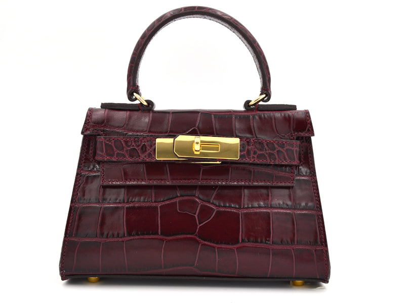 Manon Mignon - 'Croc Print' Leather Handbag - Wine