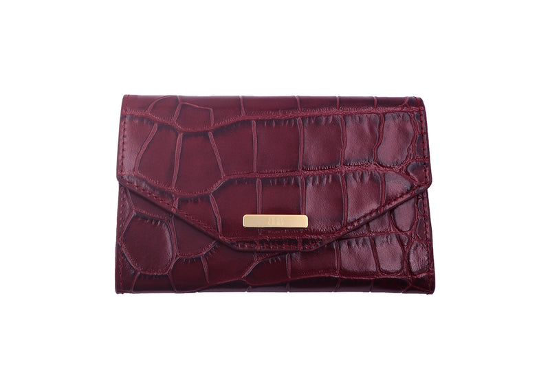 Wallet 'Croc Print' Leather - Wine