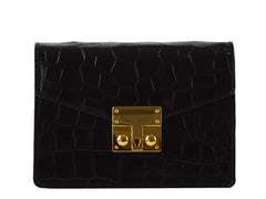 Small Coppelia 'Croc Print' Leather Shoulder Bag - Black