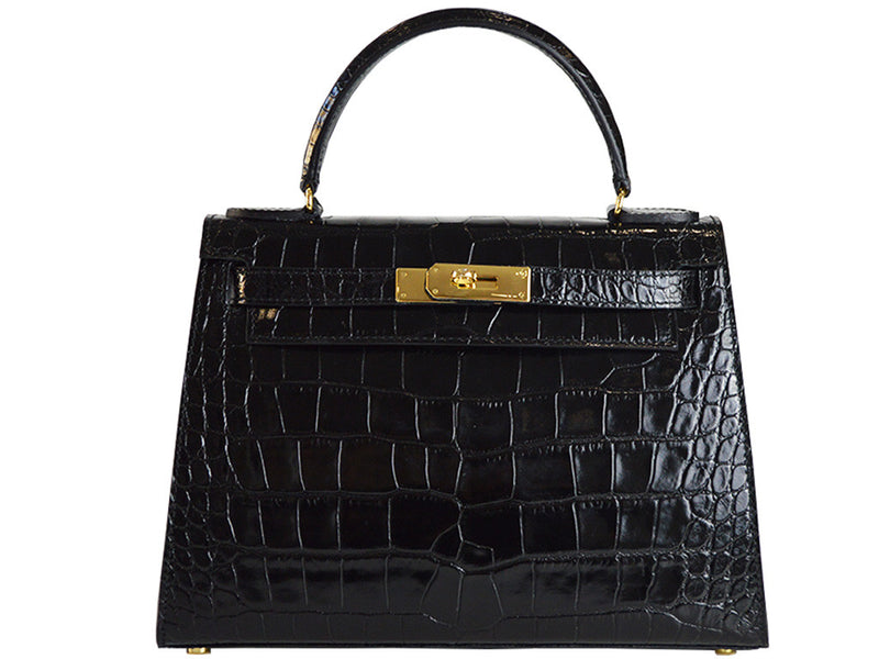 Manon Large 'Croc Print' Leather Handbag - Black