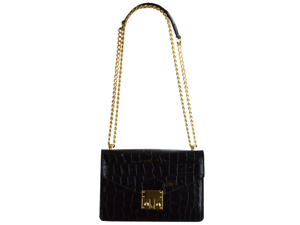 Coppelia 'Croc Print' Leather Shoulder Bag - Black