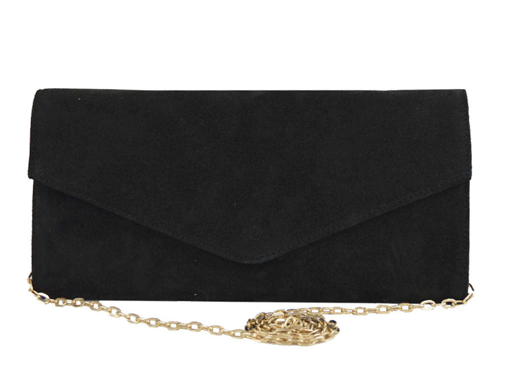 Clutch Handbag Suede - Black