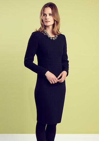 Business Dress in Black Wool Double Crepe with Long Sleeves - Toni