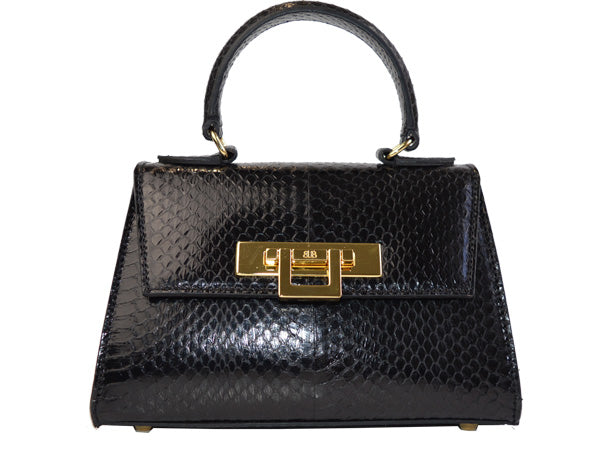 Fonteyn Mignon - Snake Skin Leather Handbag - Black