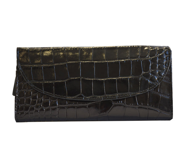 Large Purse in 'Croc Print' Leather - Black
