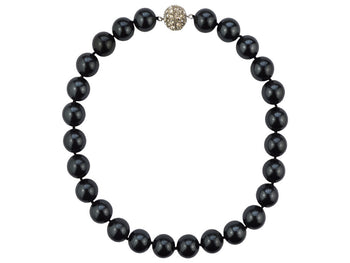 Mother of Pearl Necklace with Diamanté Clasp - Black