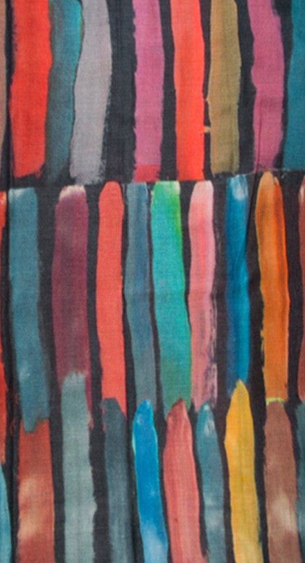 Scarf with Coloured Stripes - Multicoloured