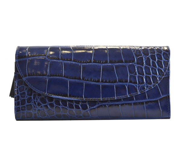 Large Purse in 'Croc Print' Leather -Navy