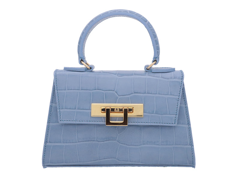 Fonteyn Mignon 'Croc Print' Leather Handbag - Bluebell