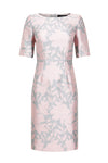 Silk/wool shift longer length dress with sleeves in fuchsia and ivory Matelassé - Em