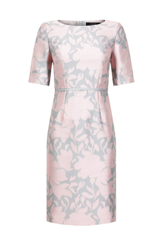 Pale Pink Dress Coat in Silk Brocade with Cord Trim and Frogging - Vicky