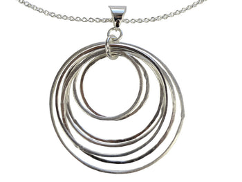 Pendant Silver Necklace - Circles