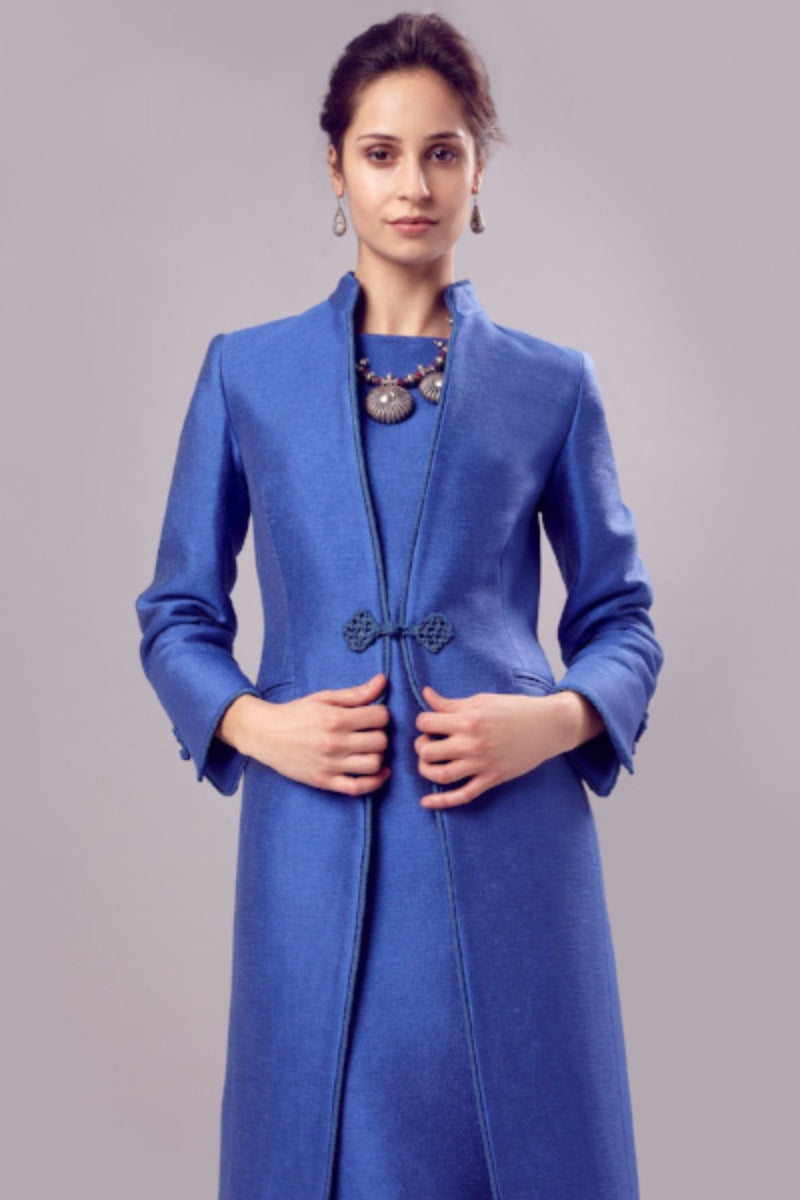 Blue mother of the bride jacket by Lalage Beaumont