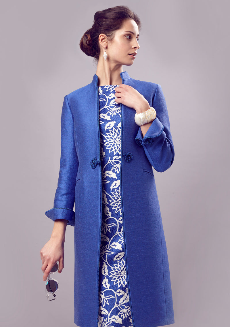 designer  Dress-Coat In Royal Blue Silk/Cotton Summer Tweed - Vicky