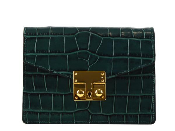 Small Coppelia - 'Croc Print' Leather Shoulder Bag - Dark Green
