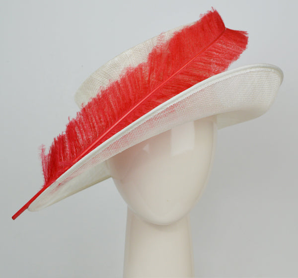 white hat with red feather for mother of the bride outfit