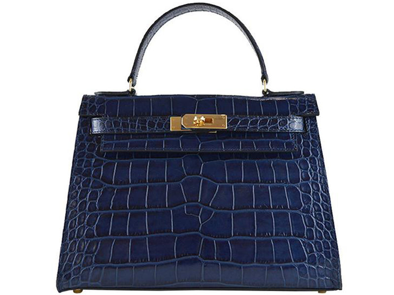 Manon Medium - 'Croc Print' Leather Handbag - Navy