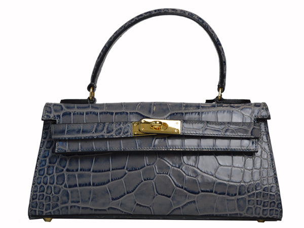 Manon East West - 'Croc Print' Leather Handbag - Light Grey