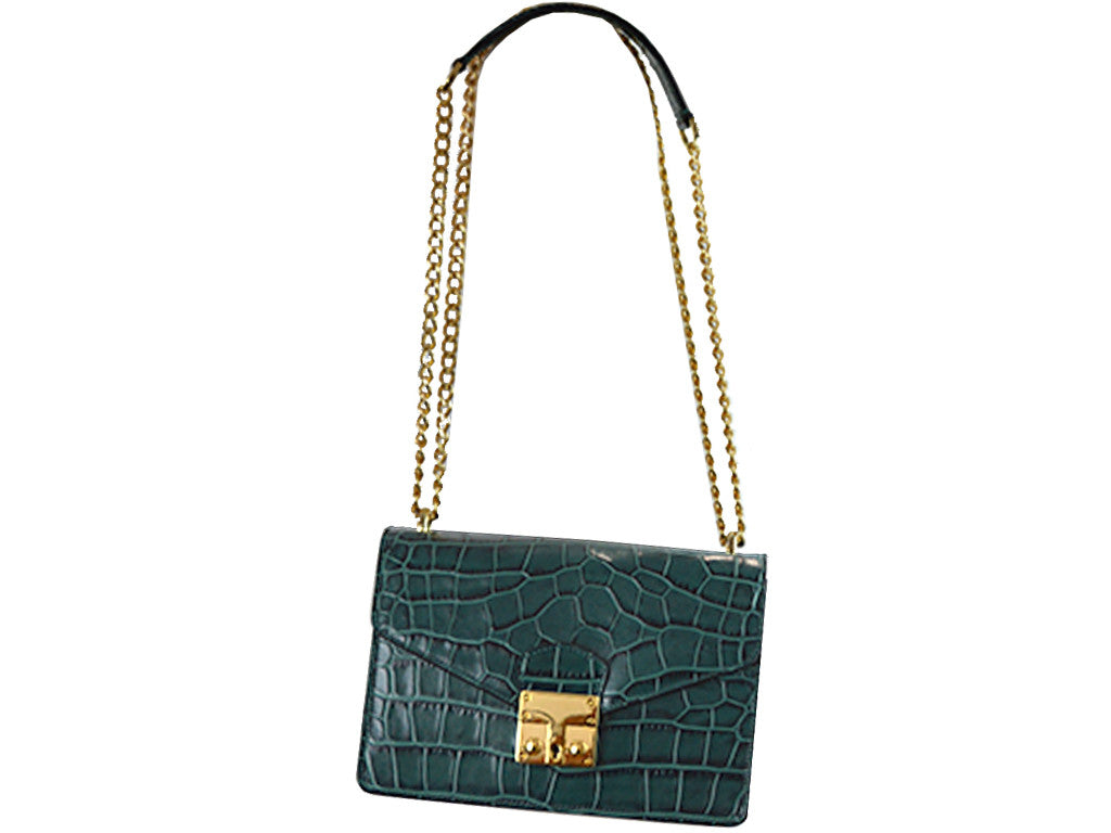 Coppelia 'Croc Print' Leather Shoulder Bag - Dark Green