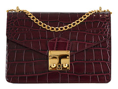 Coppelia 'Croc Print' Leather Shoulder Bag - Wine
