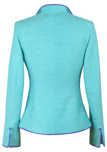 Turquoise Jacket in Raw Silk Tussah with Contrast Trim - Daphne