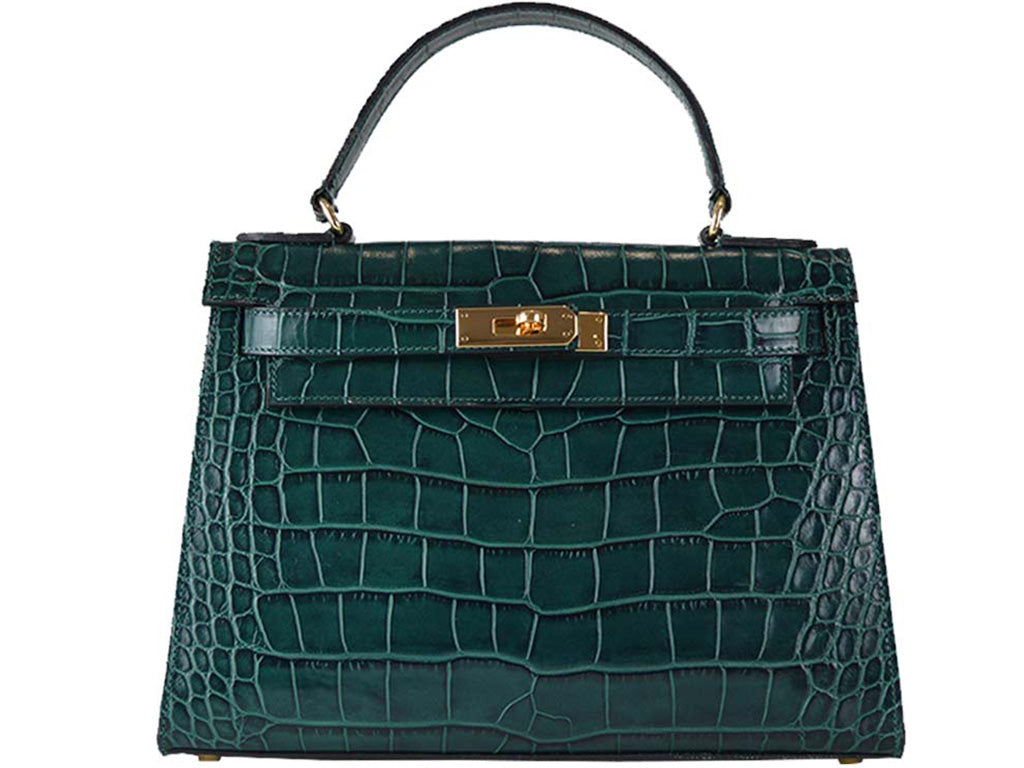 Manon Large 'Croc Print' Leather Handbag - Dark Green