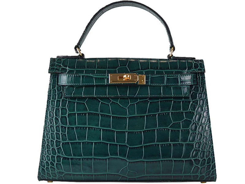 Manon Large - 'Croc Print' Leather Handbag - Dark Green