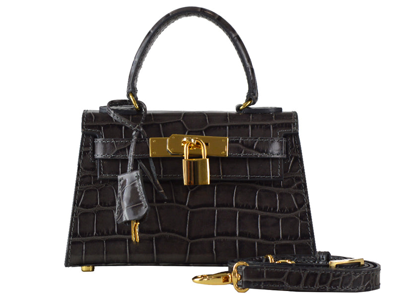 Manon Mignon - 'Croc Print' Leather Handbag - Dark Grey