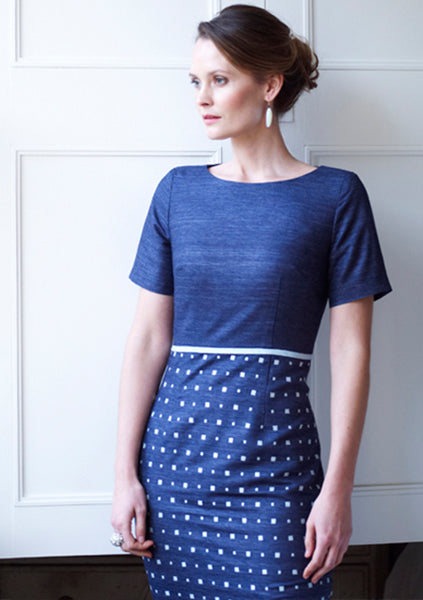 embroided silk blue dress for women's business wear london and occasion wear