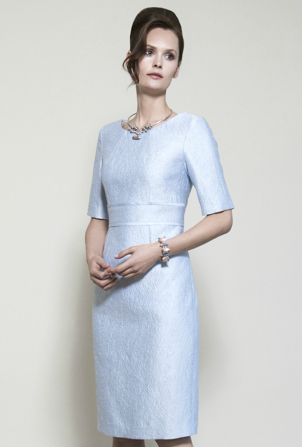 pale blue dress with sleeves chic modern mother of the bride outfit uk