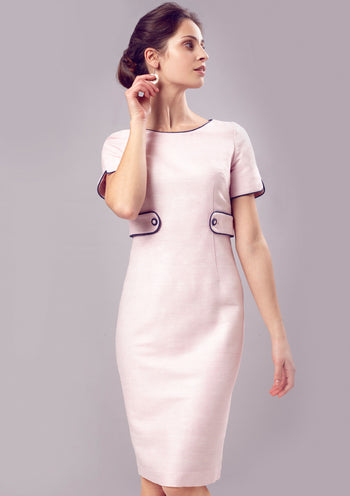 Dress - Pale Pink Raw Silk Dress With Sleeves And Contrast Trim - Freya mother of the bride outfit
