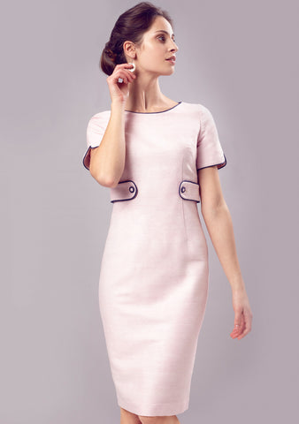 Colourblock Silk Shift Dress in Pale Pink and Navy - Bobbi