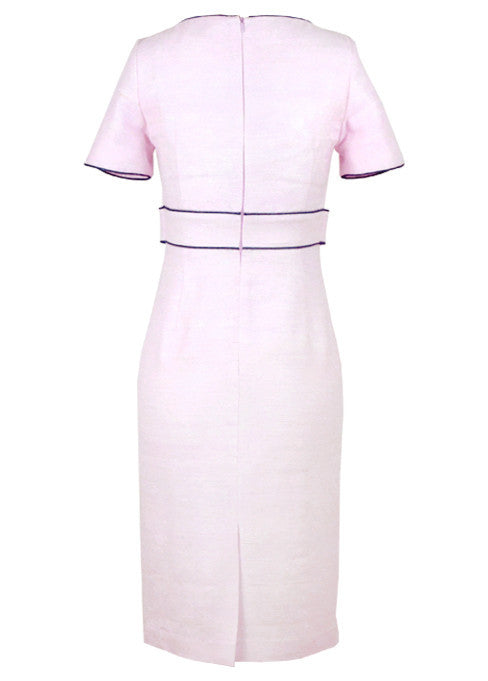 mother of the bride Dress - Pale Pink Raw Silk Dress With Sleeves And Contrast Trim - Freya