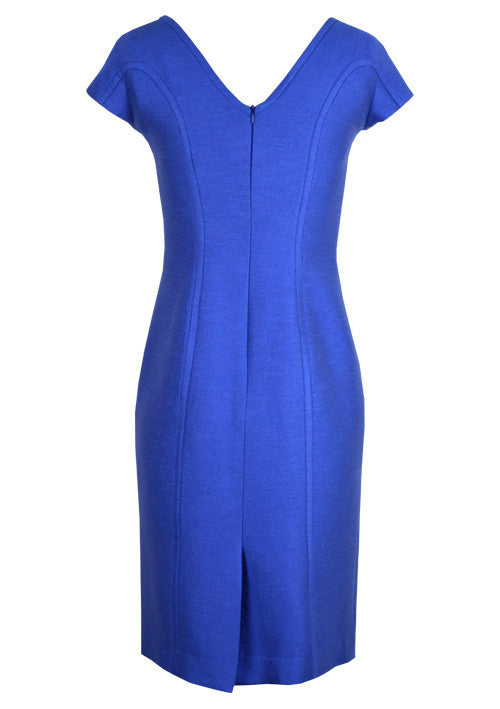 Dress - Royal Blue Shift Dress With Cap Sleeves And V Back - Jess