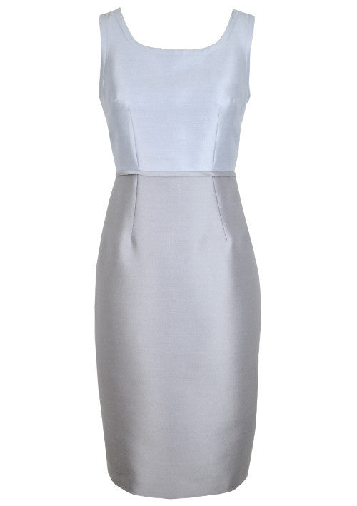 Dress - Sleeveless Shift Colour Block Dress In Sky Blue/Grey Silk Sateen - Bobbi