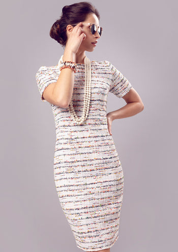Dress - Summer Dress With Sleeves In Ivory Striped Tweed - Angie