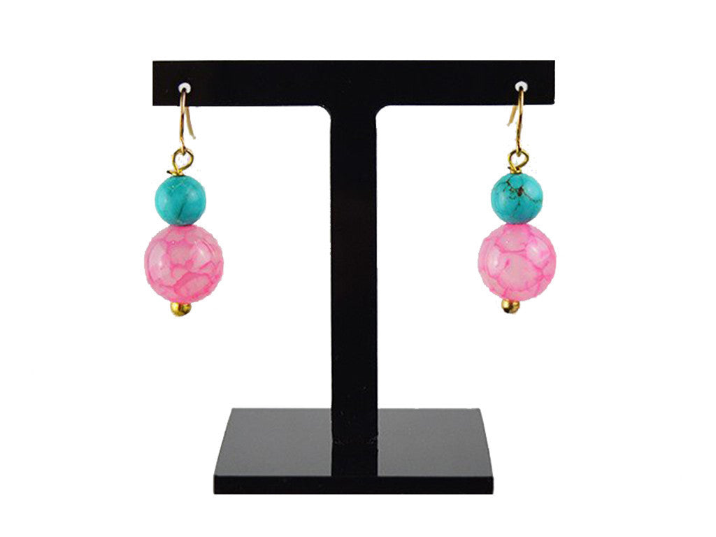 Earrings - Turquoise Dyed Jade And Pink Stone Earrings