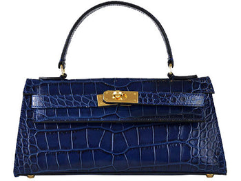 Manon East West - 'Croc Print' Leather Handbag - Navy