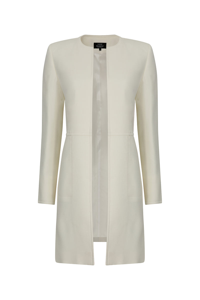 7/8 length jacket in plain ivory faille - Iona