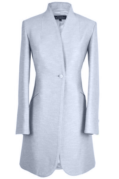 Long Jacket in Pale Blue Silk summer tweed with Back Detail - Mia