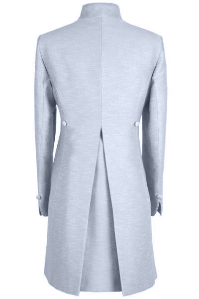 Long Jacket in Pale Blue Silk sateen with Back Detail - Mia